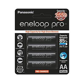Panasonic Eneloop Pro AA Rechargeable NiMH Battery (2550mAh, 4-Pack)