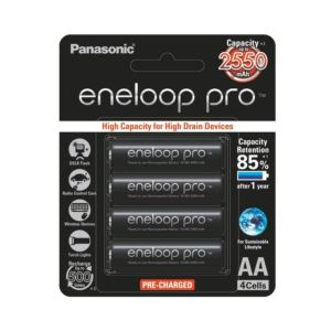 Panasonic Eneloop Pro AA Rechargeable NiMH Battery (2550mAh, 4-Pack)